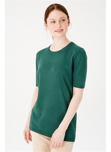 Desen Triko Kadın Lıkralı Kısa Kollu Sıfır Yaka Düz Bluz Kemık Yeşil